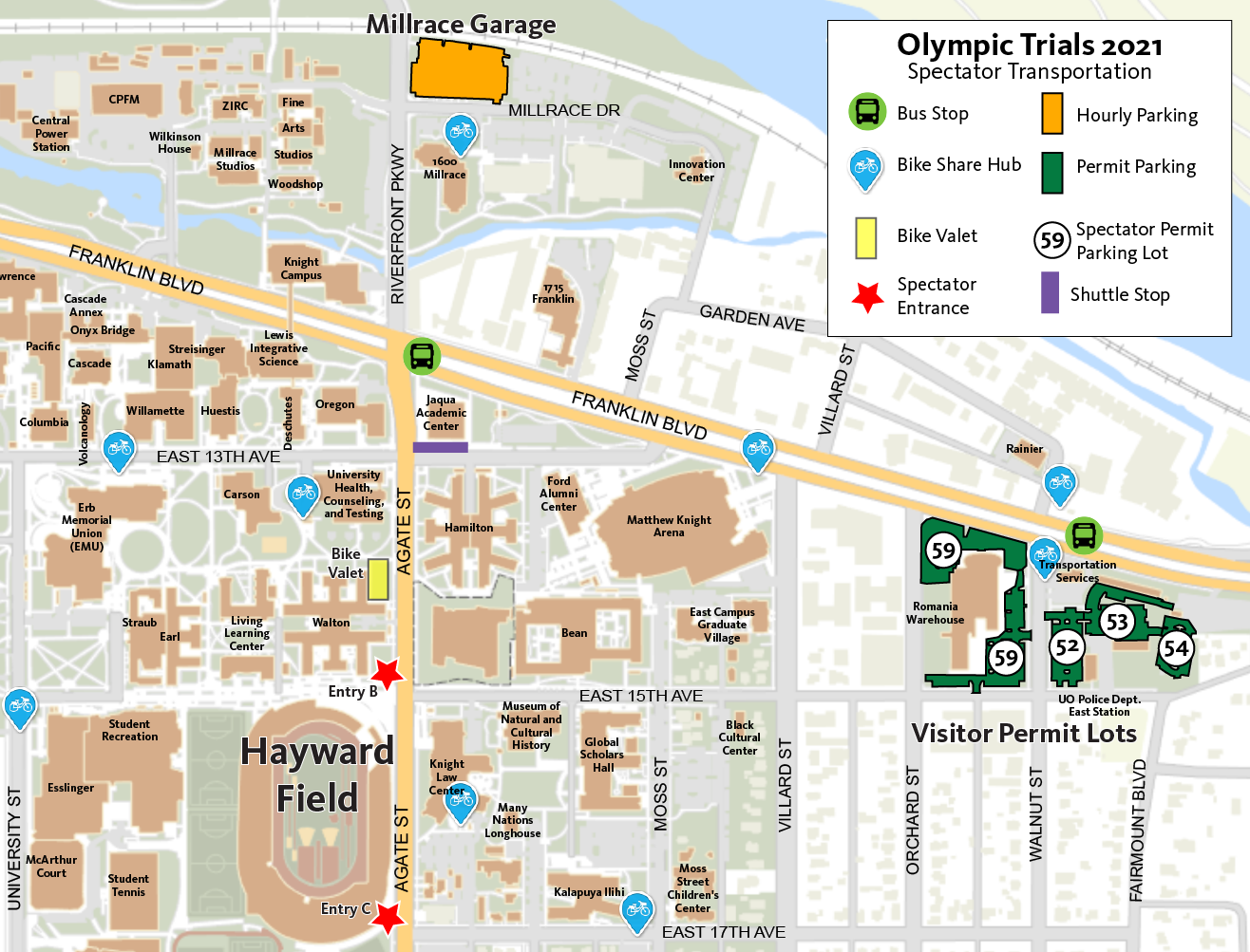 Olympic Trials Parking Map